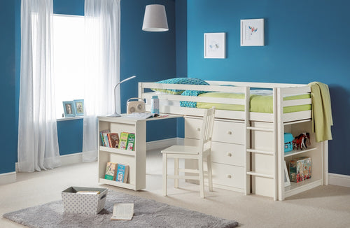 White mid sleeper | children's stone white sleep station with storage and desk