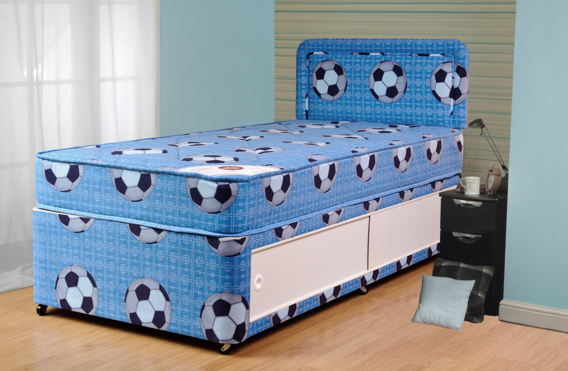 Football bed - blue children's football divan set with slide door stoarge-Childrens Beds-bedsmart