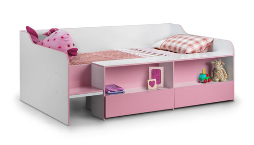 Pink low sleeper cabin bed with drawers and shelves