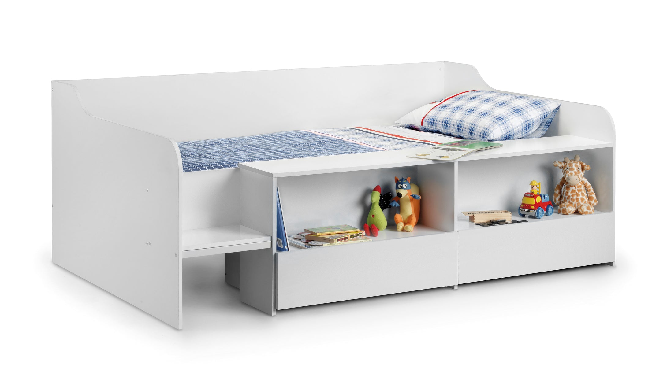 White low sleeper cabin bed with drawers and shelves-Childrens Beds-bedsmart
