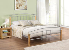 Beech and silver single metal bed frame-bedsteads-bedsmart