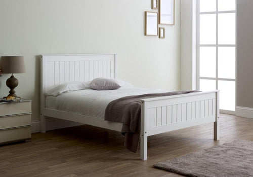 White wooden double bed frame | Limelight Taurus LB57 bed - bedsmart