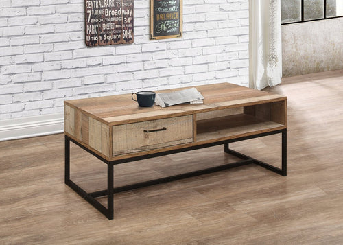 Rustic coffee table with drawer | Urban industrial furniture range-Furniture-bedsmart