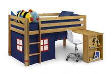 Children's pine midsleeper with blue tent and desk