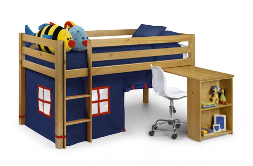Children's pine midsleeper with blue tent and desk - bedsmart