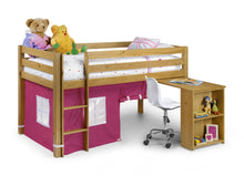 Pine midsleeper with pink play tent and pull out desk - bedsmart