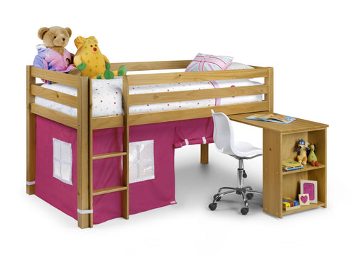Pine midsleeper with pink play tent and pull out desk