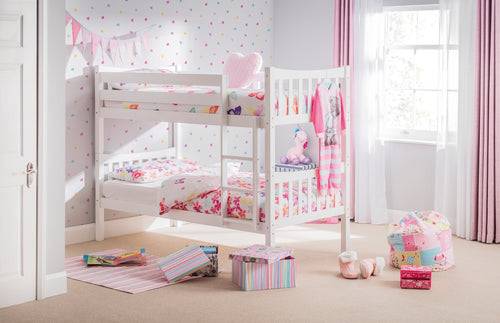 Zodiac Bunk Bed In Bright White Lacquered Finish-Childrens Beds-bedsmart