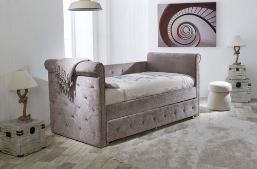 Limelight Zodiac Daybed with trundle bed in luxurious mink fabric - bedsmart