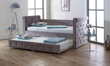 Limelight Zodiac Daybed with trundle bed in plush silver fabric