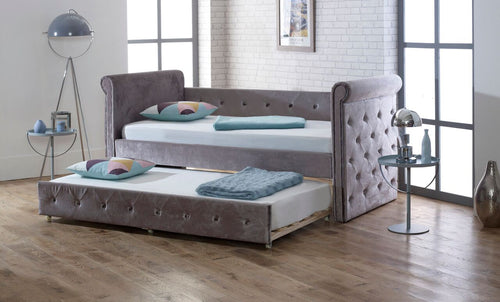 Limelight Zodiac Daybed with trundle bed in plush silver fabric - bedsmart