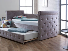 Limelight Zodiac Daybed with trundle bed in plush silver fabric-Day beds-bedsmart
