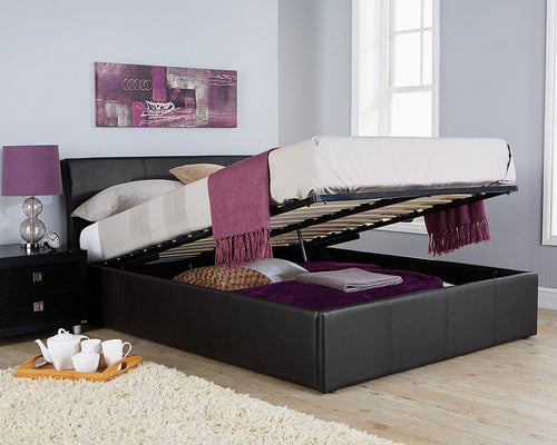 Ascot black or brown faux leather ottoman bed