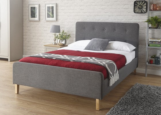 Cheap grey fabric bed frame | light grey or dark grey ashbourne bed - bedsmart