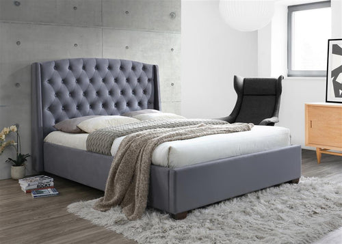 Grey velvet luxurious fabric bed | Balmoral super king size bed frame