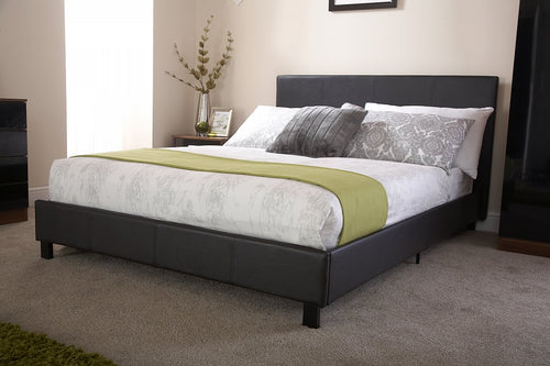Black faux leather budget bed frame-bedsteads-bedsmart
