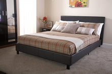 Brown faux leather budget bed frame