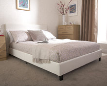 White faux leather budget bed frame