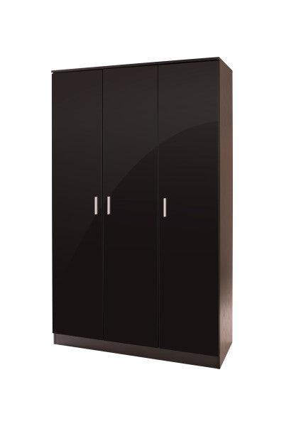 Black 3 door wardrobe with storage shelves-Furniture-bedsmart