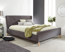 Carnaby dark grey winged fabric bed-bedsteads-bedsmart