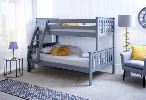 Carra grey triple sleeper bunks 3ft over 4ft | Small double three sleeper bunk bed