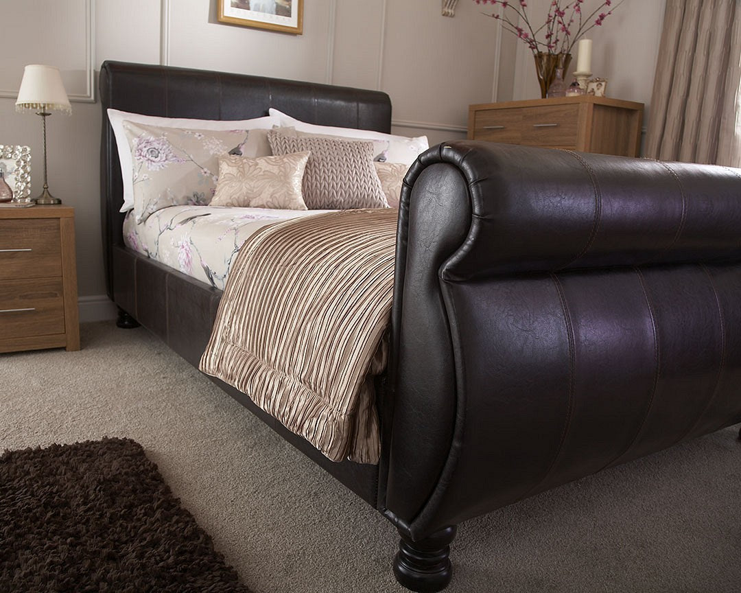 luxurious brown faux leather Chicago sleigh bed