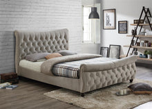 Kingsize grey fabric sleigh bed | Copenhagen stone grey scroll bed-bedsteads-bedsmart