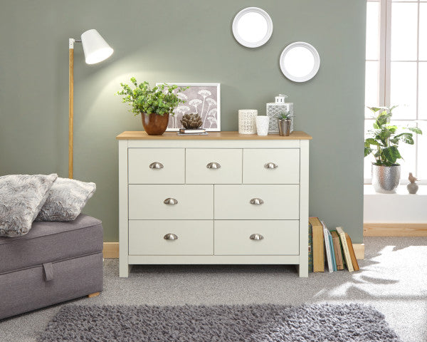 Cream Merchants Chest | Lancaster cream and oak 7 drawer chest-Furniture-bedsmart
