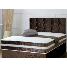 Crushed velvet bed | memory ortho divan set with diamante buttoned headboard - bedsmart