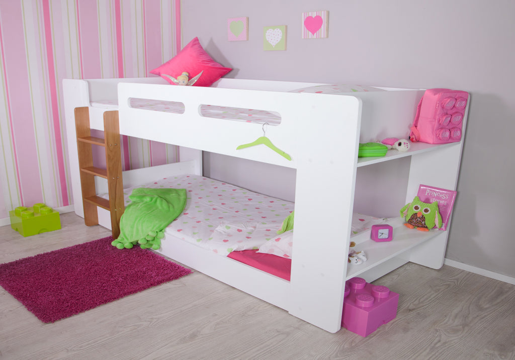 Joey Bunk White Low Height Bunk Beds Bedsmart