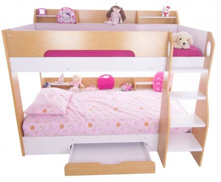 Flick maple bunk with storage shelves and drawer - bedsmart