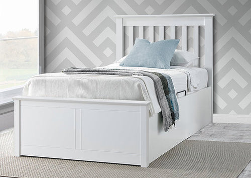 Porto white wooden ottoman bed | single storage bed frame-bedsteads-bedsmart