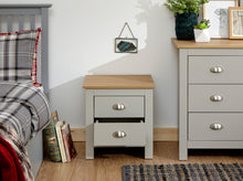 Grey 2 drawer bedside with oak top | Cream and Oak Lancaster night stand-Furniture-bedsmart