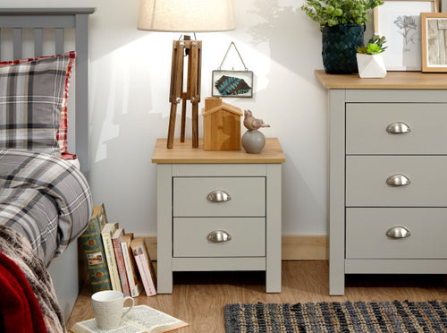 Grey 2 drawer bedside with oak top | Cream and Oak Lancaster night stand - bedsmart