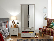 Grey and Oak combination wardrobe | 2 door 2 drawer wardrobe-Furniture-bedsmart