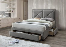 Grey Marl fabric storage bed - Cezanne bed frame
