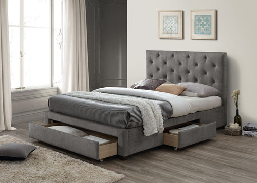 Grey marl deep buttoned fabric storage bed