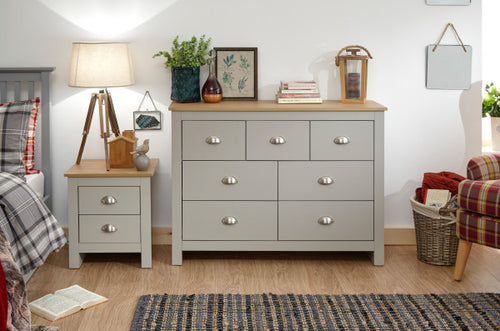 Grey Merchants Chest | Lancaster grey and oak 7 drawer chest - bedsmart