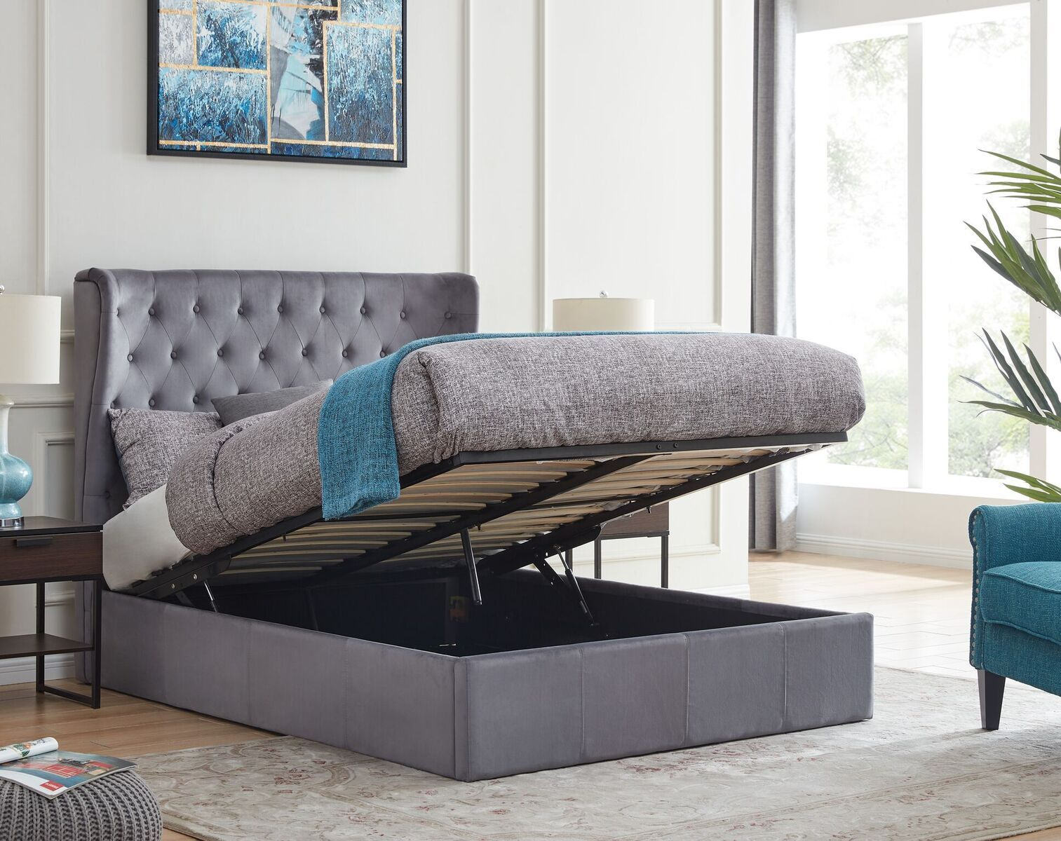 Holway Grey ottoman bed with winged headboard-ottoman beds-bedsmart