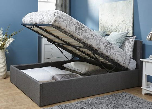 Grey Fabric Ottoman Bed | Ascot storage bedstead - bedsmart