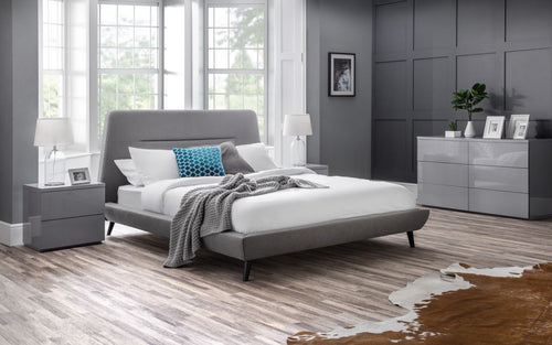 Modern fabric bed in grey linen-bedsteads-bedsmart