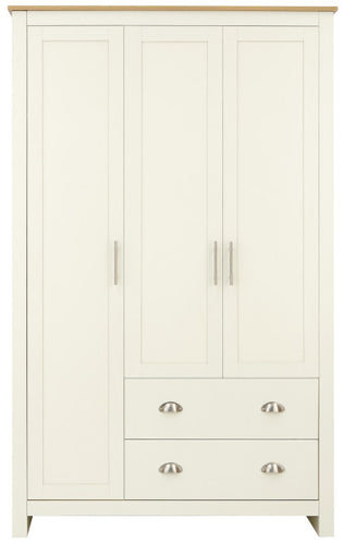 Cream combination wardrobe with oak top | 3 door 2 drawer wardrobe-Furniture-bedsmart