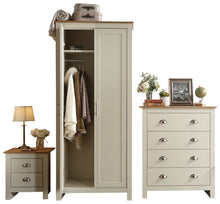 Cream and Oak bedroom furniture set | Lancaster wardrobe, chest and bedside-Furniture-bedsmart