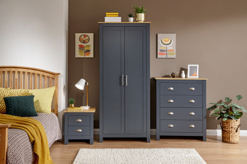 Blue and Oak bedroom furniture set | Lancaster wardrobe, chest and bedside-Furniture-bedsmart