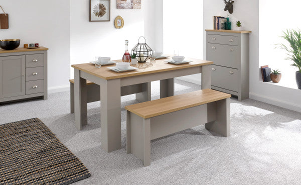 Oak and grey dining table with benches
