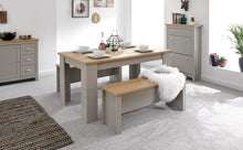 Oak and grey dining table with benches - bedsmart