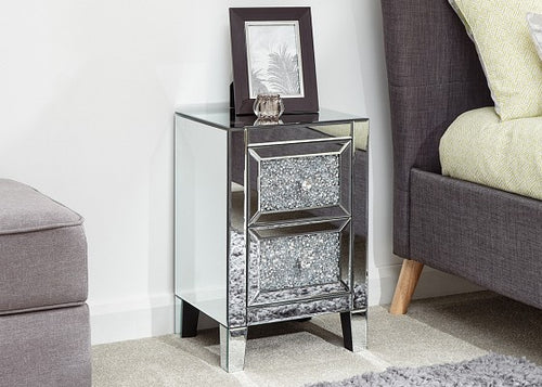 Sparkly mirrored 2 drawer bedsides-Furniture-bedsmart