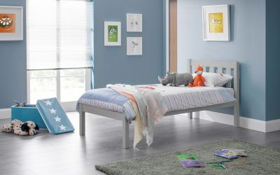 Dove grey wooden single bed frame | Solid pine wooden bed-bedsteads-bedsmart