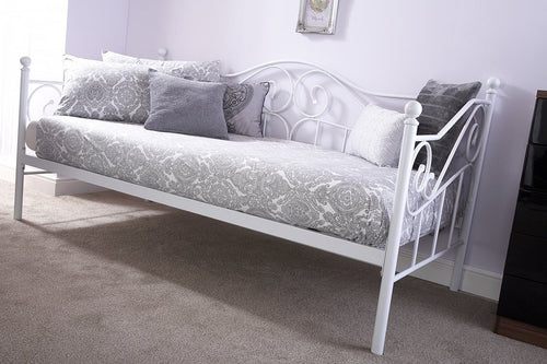 Madison white metal day bed and trundle set - bedsmart