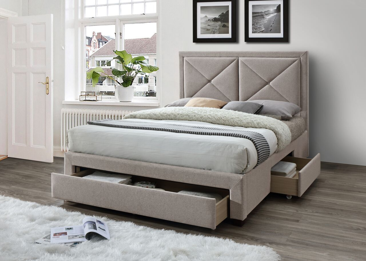 Mink velvet fabric storage bed - Cezanne bed frame